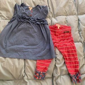 Matilda Jane blue ruffle dress + red blue leggings